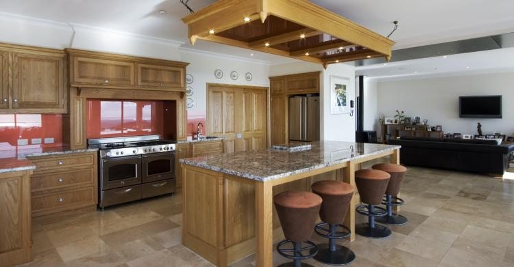 The gourmet kitchen is the hub of the house